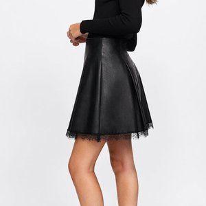 Zara Vegan Leather Pleated Lace Hem Skirt